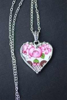 Collier Broken China bijoux pendentif coeur par Robinsnestcreation1