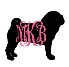Monogram Pug silhouette with name decal for car, laptop, cup, cell phone, Samsung, iphone, notebook, tumbler, boots, mailbox