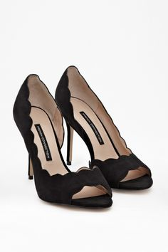 b862ea13022a Octavia Leather Heels - Shoes - French Connection Usa - scalloped details  Flat Heel Boots