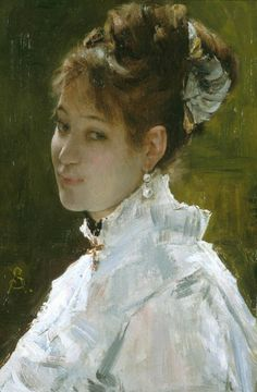 Portrait of a Young Woman Date late 19th century Artist: Alfred Stevens, Belgian, 1823-1906 Chrysler Museum