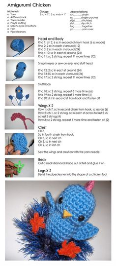 #Free Pattern; crochet; amigurumi chicken ~~