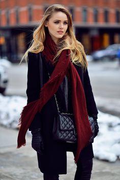 Street styles   Burgundy and black..