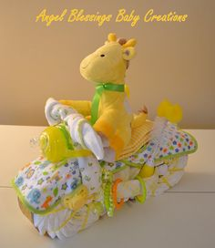 Motorcycle Diaper Cake Baby Shower Centerpiece by AngelBlessings12, $87.50