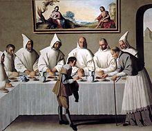 Pintura del claustro cartujo del monasterio de Santa María de las Cuevas, Sevilla por Francisco de Zurbarán. La escena muestra a Hugo de Grenoble en un monasterio cartujo.
