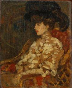 Adjugé 16 500 euros par Tradart Deauville à Deauville le 18 octobre 2015 : James Wilson MORRICE (1864-1924) Elégante au chapeau Huile sur toile signée en bas à droite 17 x 14 cm.