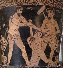 Aquiles matando a un prisionero troyano frente a Caronte en una crátera-cáliz de figuras rojas etrusca hechas sobre finales del siglo IV o principios del IIIa.C. Los hombres de la Edad de Bronce sólo vivían para la guerra se exterminaron a sí mismos debido a su violencia. Una 2ª Edad del Bronce es la Edad de los Héroes, vivieron héroes y semidioses, que lucharon en Tebas y Troya. Cuando esta raza murió, todos fueron al Elíseo. La última es la Edad de Hierro.