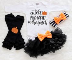 Baby Halloween Outfit Cutest Pumpkin In the by ThreeHappyPandas