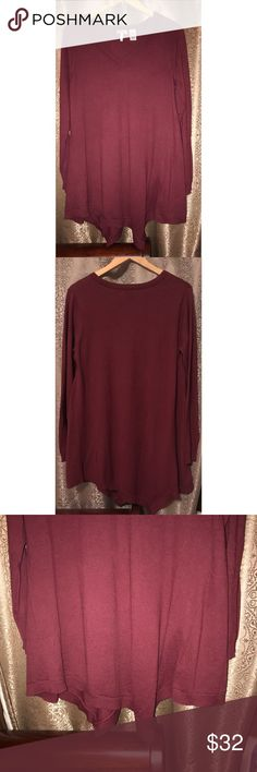 LOGO by Lori Goldstein Burgundy Knit Top Size Med Pre-owned, in great condition. LOGO by Lori Goldstein burgundy knit long top. Asymmetrical hem. V-neck. Made in China. 95% cotton 5% spandex. Perfectly paired with leggings. LOGO by Lori Goldstein Tops Sweatshirts & Hoodies