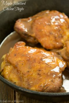 A delicious and mouthwatering maple-mustard chicken thighs recipe! A new family favorite here.