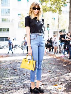 Street style fashion week blogger jeans tshirt loafers bag sunglasses outfit summer spring autumn