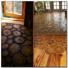 End Grain Wood Flooring 18 Charming Rustic Log Projects: Bringing Nature Indoors Log Decor, Rustic Decor, Casas Cordwood, Log Coffee Table, Log Projects, Rustic Cake Stands, Deco Champetre, Bois Diy, Deco Originale