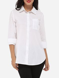 Pockets Single Breasted Button Down Collar Dacron Plain Blouse Only $28.95 USD More info...