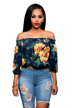 aed4a7c6924e Navy Blue Off-The-Shoulder Cuff-Sleeved Blouse Featuring Yellow Floral Print