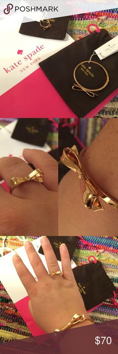 Bow Ring and Bracelet Set🎀🎀 New ring and bracelet set from Kate Spade in rose gold. Not real gold. Ring is a size 8. Bracelet has a hinge. Will include jewelry bags and shopping bag. kate spade Jewelry