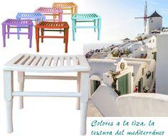 ESTUDIO DELIER | Banqueta descalzadora ibiza, colores mediterráneos, acabados a la tiza