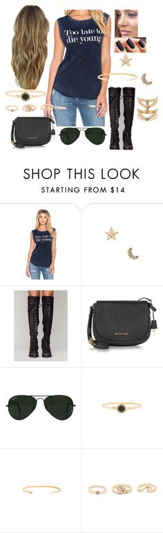 """""""Bez tytułu #14622"""" by sophies18 ❤ liked on Polyvore featuring Tyler Jacobs, Marc Jacobs, OPI, Free People, Michael Kors, Ray-Ban, Gorjana and LULUS"""