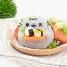 kawaii bento plate with Pusheen the Cat | @maysatch IG via Pusheen IG