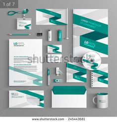 White corporate identity template design with green stripe. Business stationery - stock vector