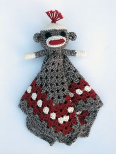 Sock Monkey Lovey - CROCHET PATTERN - blankey, blankie, security blanket.