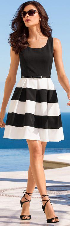 Boston Proper Stripe Belted Dress