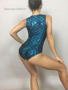 Spectrum Blue Hologram Metallic Tank Bodysuit | Festival and Rave Rompers