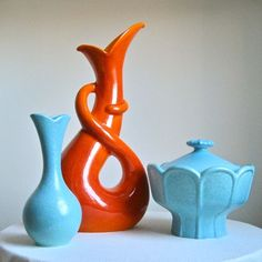 Blue (& orange) retro vases