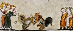 Medieval children enjoying the sport of cock fighting.  Romance of Alexander, MS. Bodl. 264, pt. I .folio 050r.