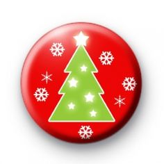Christmas Tree and Snowflakes badges  Christmas button badges