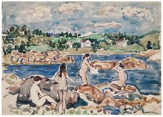 """""""Bathers at Passamaquoddy Bay"""" by Maurice Brazil Prendergast  ca. 1910-1913 at Williams College Museum of Art, Prendergast Archive and Study Center"""