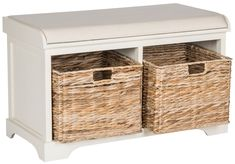 Safavieh Furniture AMH5736D - Sit back and relax. This pretty storage bench with distressed white pine frame and linen upholstered seat is perfect for changing shoes in entry hall, and
