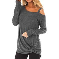 Ulanda Elegant Womens Long Sleeve Scoop Neck Loose Strappy Cold Shoulder Tops Basic T Shirts