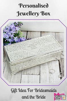 An antique style jewellery box that can be personalised witha message for the Bride or a thank you to the Bridesmaid.  A beautiful gift that can be  cherished for years to come - Shop Now - http://www.omgmygift.co.uk/antique-style-jewellery-box-8778-p.asp