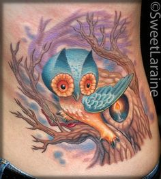 Wise Owl with candle in tree tattoo by Sweet Laraine of San Antonio, TX