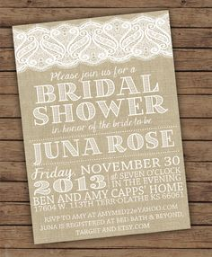 Lace bridal shower invites. Order your personalized invitations at https://www.facebook.com/BoardmanPrinting/