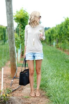 I love the shirt and shorts and sandals! And the colors are perfect.  Love this outfit for a casual look.