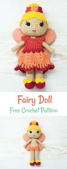 Free crochet fairy doll pattern #crochet #amigurumi #doll #pattern
