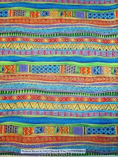 2 YDS.  MYTHICAL HORSES  BRIGHT STRIPE  LAUREL BURCH FABRIC Cotton UNWASHED