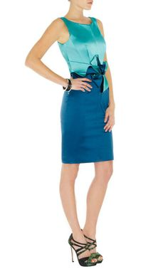 3fbdea9228 Karen Millen Outlet DN193 Turquoise Colourblock Stretch Satin Dr Only £61  http://