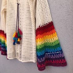 Excited to share this item from my shop: NEW - Crochet Dirty White Cardigan With Rainbow Sleeves, Lace Jacket with Tassel knots, Spring Summer Clothing Crochet Cardigan, Knitted Shawls, Hand Crochet, Crochet Lace, Yarn Sizes, Handmade Scarves, Lace Jacket, White Cardigan, Crochet Clothes