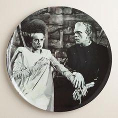 Round Frankenstein's Monster and Bride Platter at Cost Plus World Market >> #WorldMarket Halloween #HalloweenDecor #HalloweenEntertaining