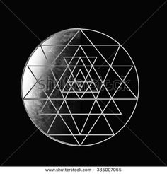 Moon. Sri Yantra - symbol of Hindu tantra formed by nine interlocking triangles that radiate out from the central point. Sacred geometry. Abstract vector illustration. - stock vector