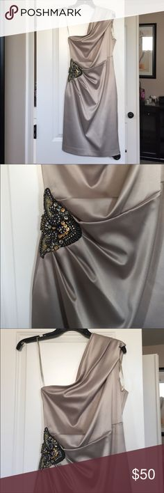 Beautiful Eliza J Satin dress with jewel patch Elegant light beige satin dress with stunning jewel patch and draping. Worn only once for occasion. It is perfect for NY celebration party! Eliza J Dresses One Shoulder