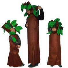 Adultes et Enfants Halloween Party Vert Arbres de Costumes Enfants Cosplay Vêtements Costume Party Costume de Famille(China (Mainland))