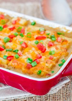 Mexican Tater Topped Casserole - cheese + tater tots + beef mixture = fabulous!
