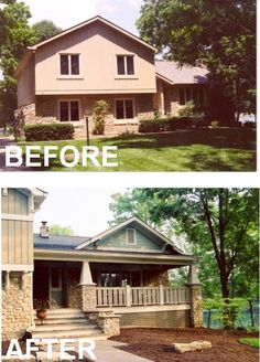 add stairs outside and create a porch, eliminate one set of stairs inside on tri-level home