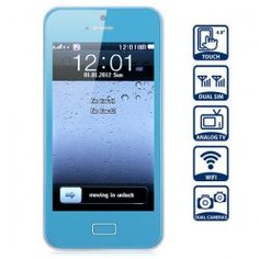 @everbuying  $45.49 H5 Unlocked 4.0 inch HVGA Touch Screen Cell Phone With Quad Band Dual SIM Dual Cameras WiFi Analog TV (Blue) #gifts