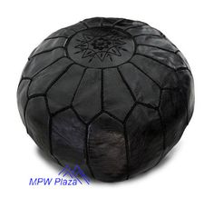 Black Moroccan Leather Pouf/Ottoman - Sold UN-STUFFED on Etsy, $99.95