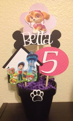 Paw Patrol Centerpiece Girlie Version by MadeForYouByMonica, $10.00