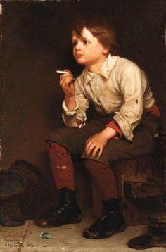 Shoeshine Boy Smoking by John George Brown (1831-1913, England)