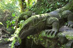 Statue of Komodo dragons in Ubud Monkey Forest, Bali